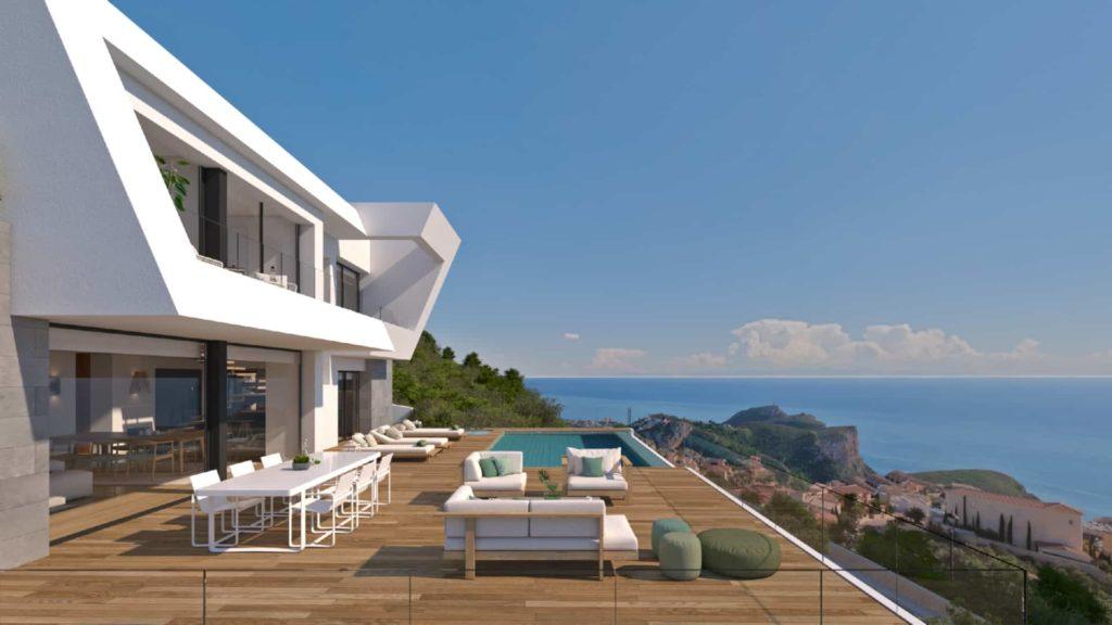 Vue d'une villa à Cumbre del Sol surplombant la Méditerranée