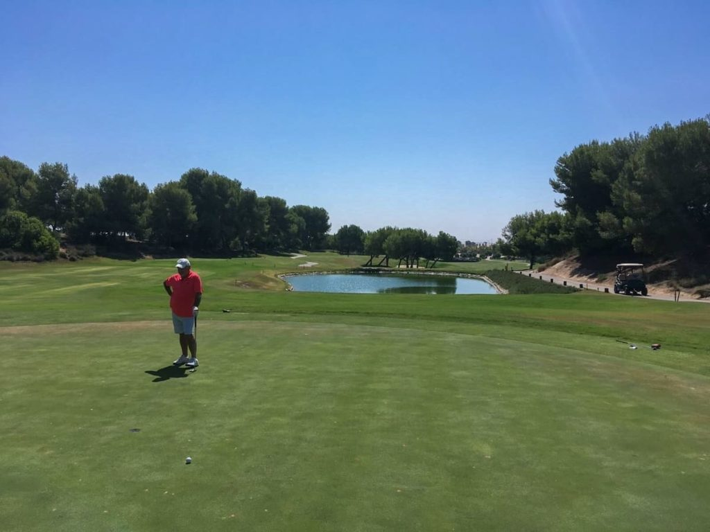 Lo Romero Golf : Par 3, 12th hole from behind green looking back to tee box