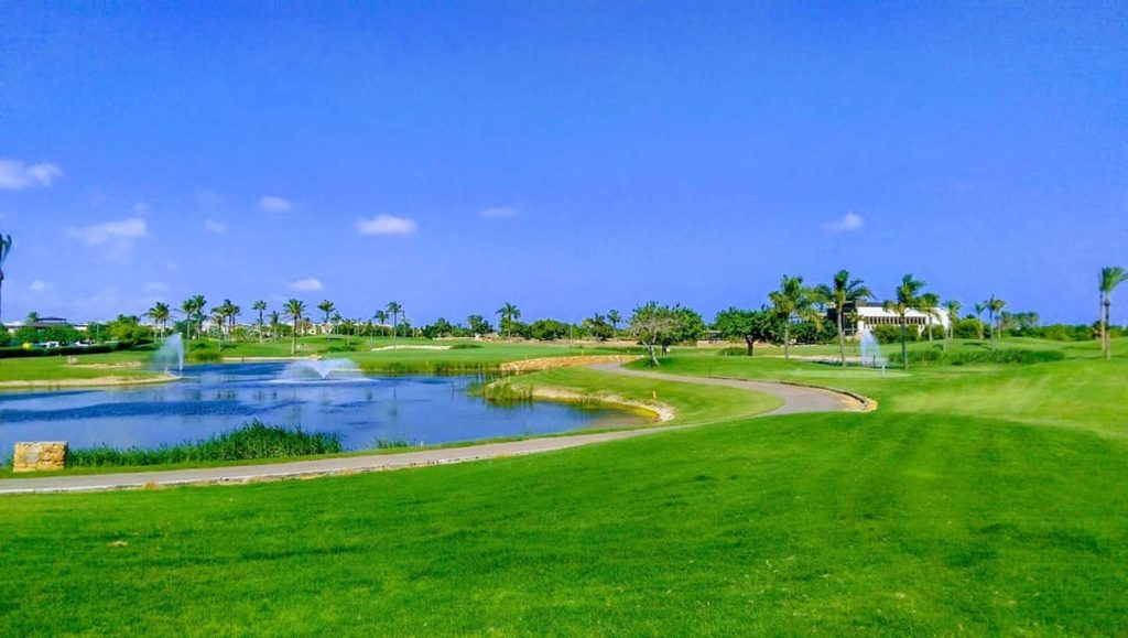 View of 7th green of Roda Golf – signature hole - from behind 6th green