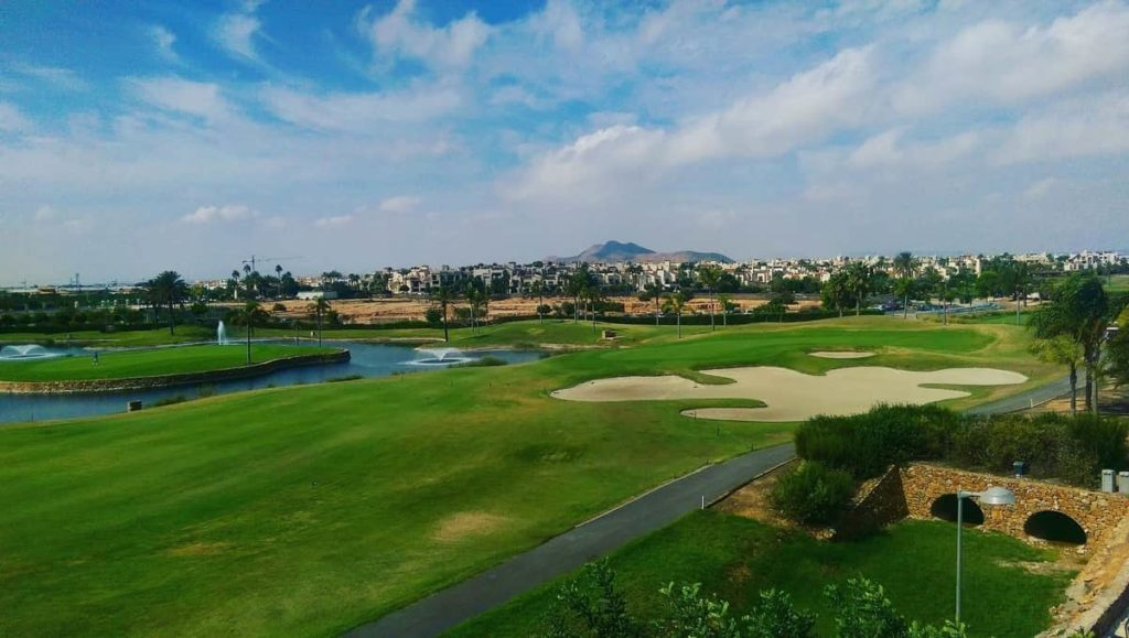 View from the rooftop bar of 9th hole of the Roda Golf & Beach Resort